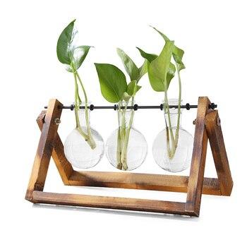 Jarrón maceta de madera de vidrio para terrario mesa de escritorio, planta hidropónica, bonsái, maceta colgante con bandeja de madera, decoración del hogar