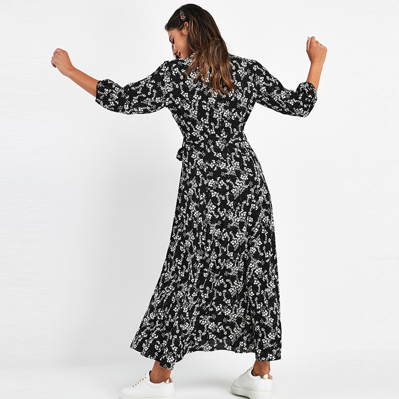 Vintage Floral Print Maxi Dress Women Boho Three Quarter Sleeve Long Sashes Dress Turn Down Collar Casual Shirt Dresses Robe 1