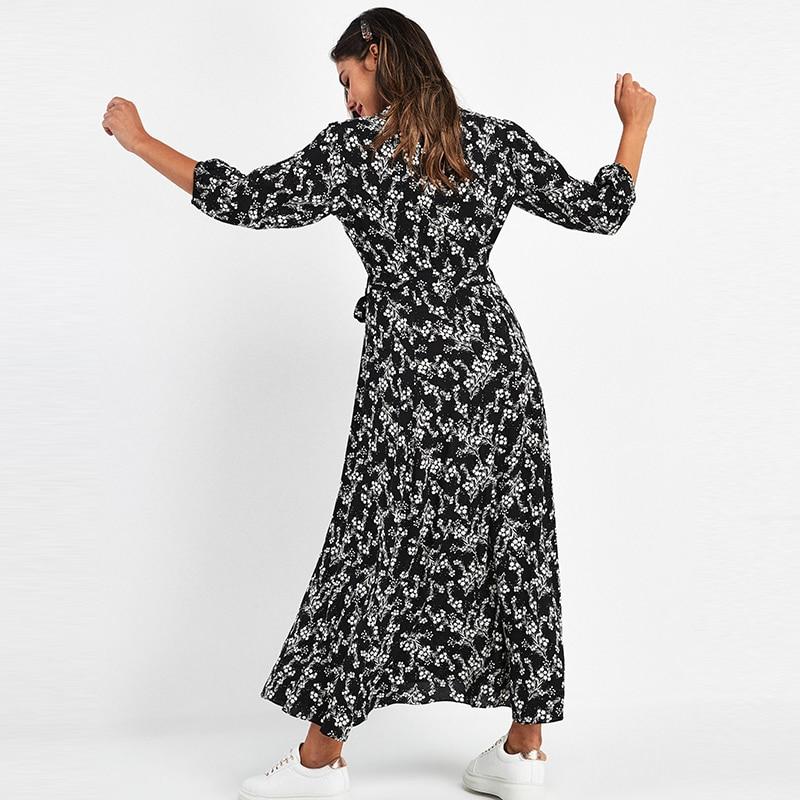 Aachoae-maxivestido con estampado Floral Vintage para mujer, vestido largo bohemio de manga de tres cuartos con cuello de camisa, vestidos informales