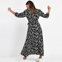 فستان ماكسي المرأة بوهو ثلاثة أرباع كم فستان طويل بدوره أسفل طوق فساتين قميص غير رسمي رداء