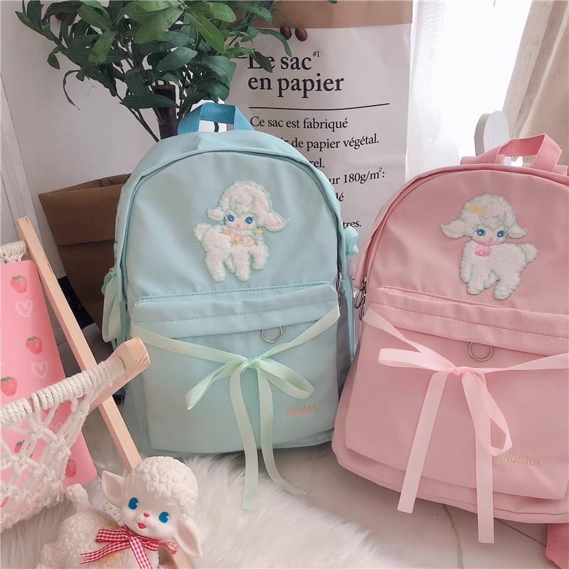Small Fresh Sweet Lolita Cute Lamb Bandage Bow Backpack Schoolbag Japanese Women's Student Shoulder Bag For Teenager Girls