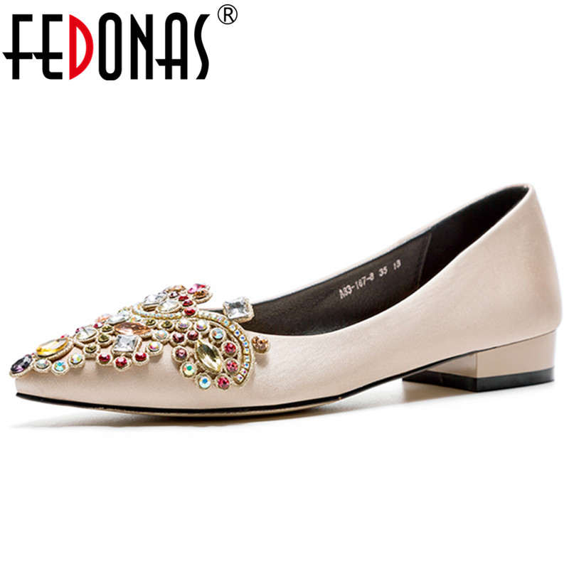 FEDONAS Female Wedding Party Prom Shoes Woman Classic Shallow High Heels Newest Rhinestone Women Silk Pumps Spring Elegant Shoes