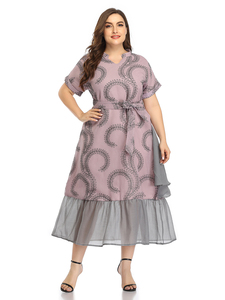 Длинные летние женские платья большого размера плюс, модные элегантные вечерние платья миди с v-образным вырезом и поясом, абайя 2020