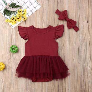 2020 Toddler Baby Girl Bodysuit Short Sleeve Ruffle Tutu Mesh With Headwear 2PCS Cotton Costume mesh with pearl detail ruffle trim top