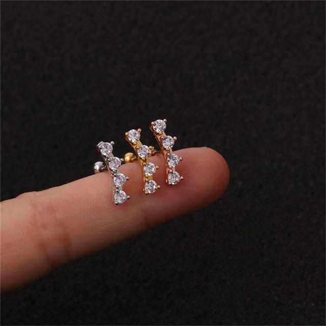 20G Stainless Steel CZ Flower Zircon Ear Cartilage Helix Piercing Jewelry Rook Lobe Stud Earring Stainless.jpg 640x640 - 20G Stainless Steel CZ Flower Zircon Ear Cartilage Helix Piercing Jewelry Rook Lobe Stud Earring Stainless Steel Zircon Earrings
