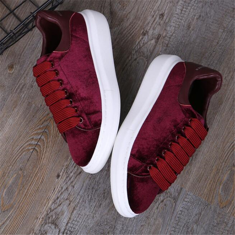 round head flat platform women's shoes black lace casual shoes celebrity comfort shoes wine red 35 44 - 4