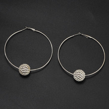 купить Simple Fashion Earrings For Women Creative Exaggerated Big Circle Shape Shining Ball Pendant Drop Earring Female по цене 233.82 рублей
