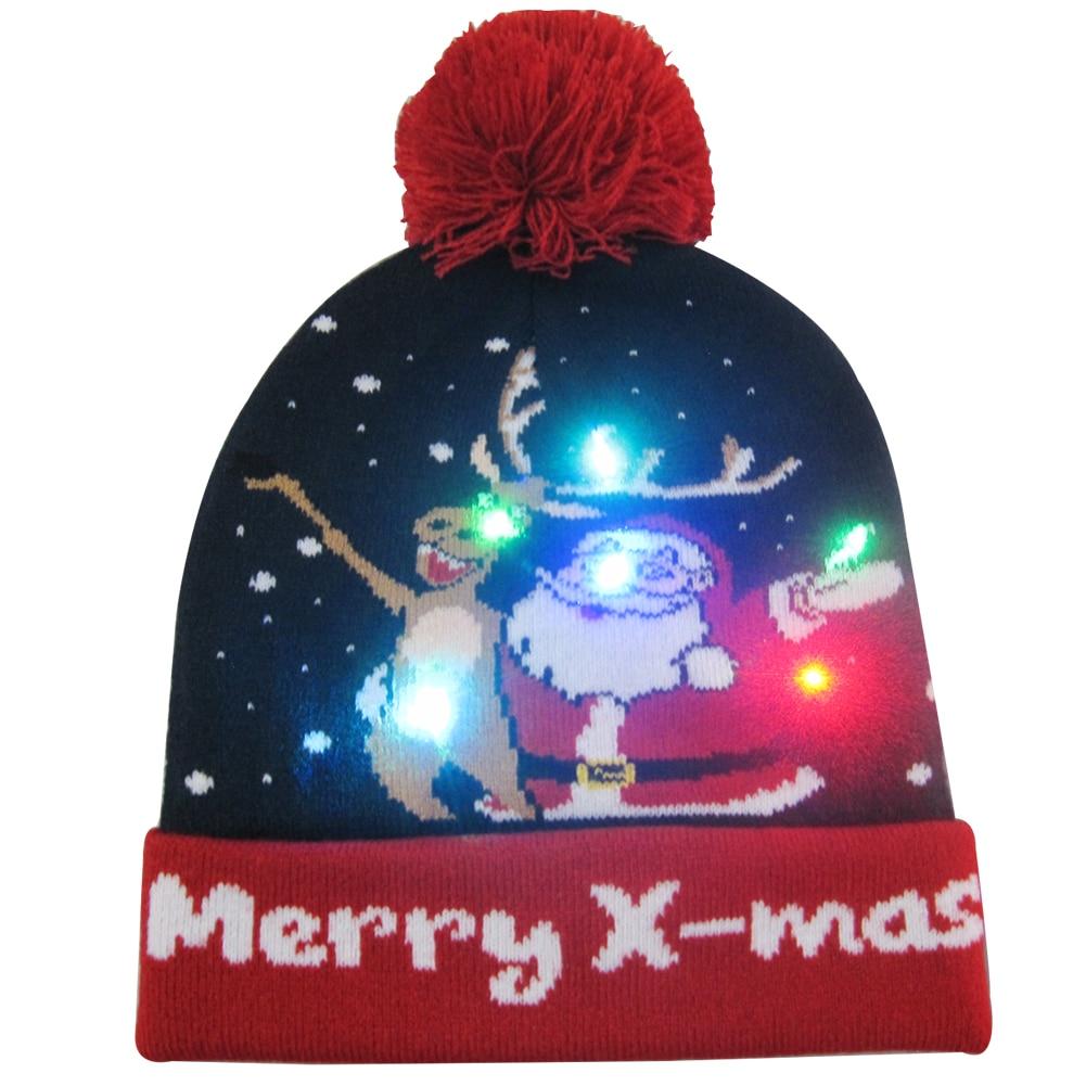 Г., 43 дизайна, светодиодный Рождественский головной убор, Шапка-бини, Рождественский Санта-светильник, вязаная шапка для детей и взрослых, для рождественской вечеринки - Цвет: 39