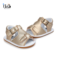 B&G Baby Summer Todler Shoes Canvas Boy Sandals Breathbale Soft PU Beach Shoes Anti-slip First Walkers
