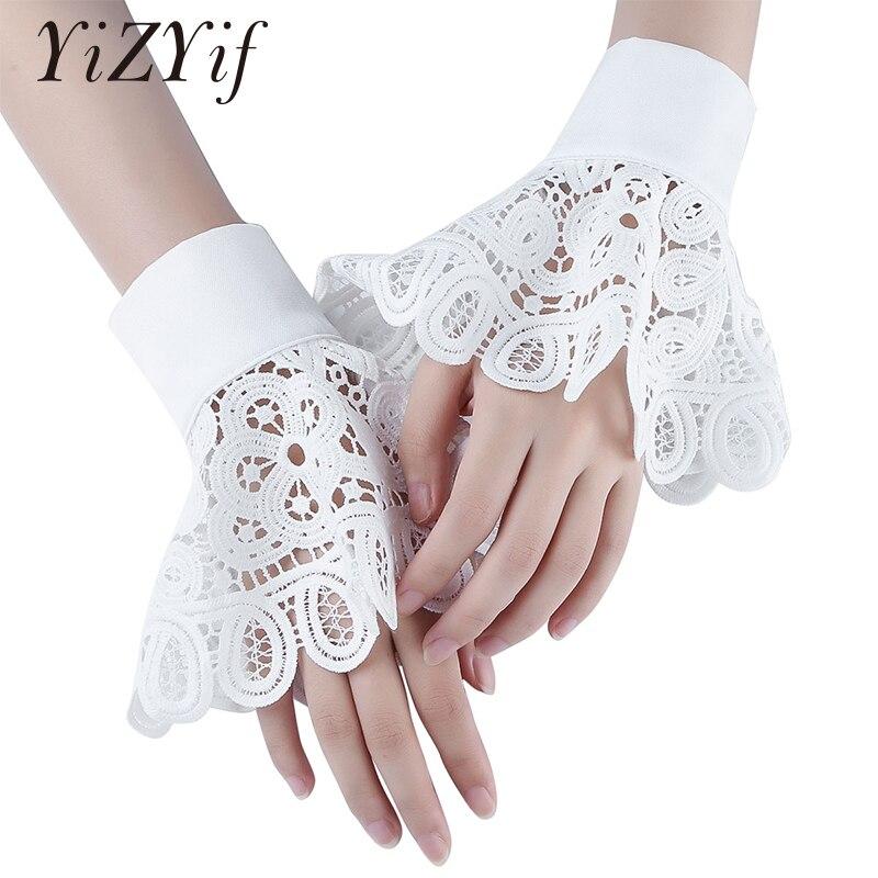 Wrist Cuffs Floral Layered Lace Cuff Stretch Bracelet Ruffled Peplum Bell False Sleeve Hollow Out Cuffs Bracelets Accessories