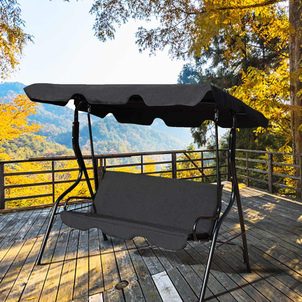 3 Seat Swing Cover Garden Cover Waterproof UV Resistant Chair Shade Dust/Sail Outdoor Courtyard Hammock Tent Swing Top Cover