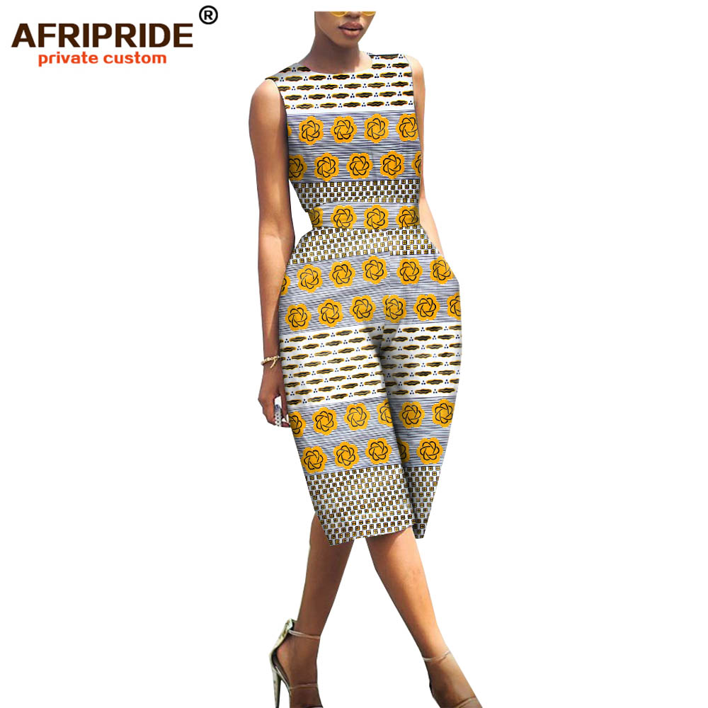 AFRIPRIDE Jumpsuit Casual Women Sleeveless Cotton Print for Bazin Richi Knee-Length A1929001