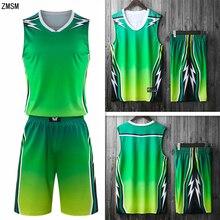 ZMSM Молодежный взрослый баскетбольный Комплект Джерси высокого качества Баскетбольная форма команда на заказ тренировочный жилет шорты спортивный костюм