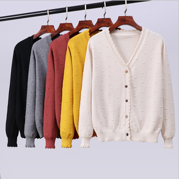 JINKAZI  Autumn and winter 2020 womens sweater cardigan new knitting coat autumn Korean version thick style top