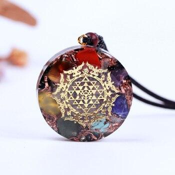 Orgonite collier lumineux avec pendentif en cristal naturel obsidienne Chakra puissant Reiki nergie bijoux de Yoga