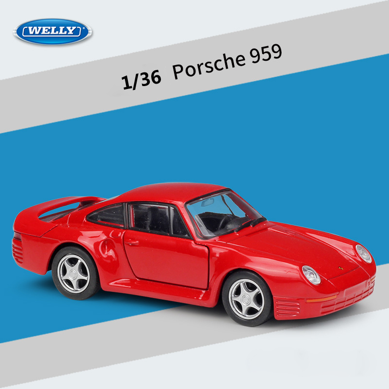 WELLY Diecast 1:36 Car Simulator Classic Porsche 959 Pull Back Car Model Car Metal Alloy Sports Car Toy Car For Kids Collection