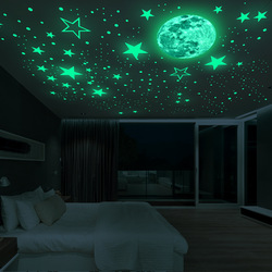 Luminous Moon and Stars Wall Stickers for Kids Room Baby Nursery Home Decoration Wall Decals Glow in the Dark Bedroom Ceiling