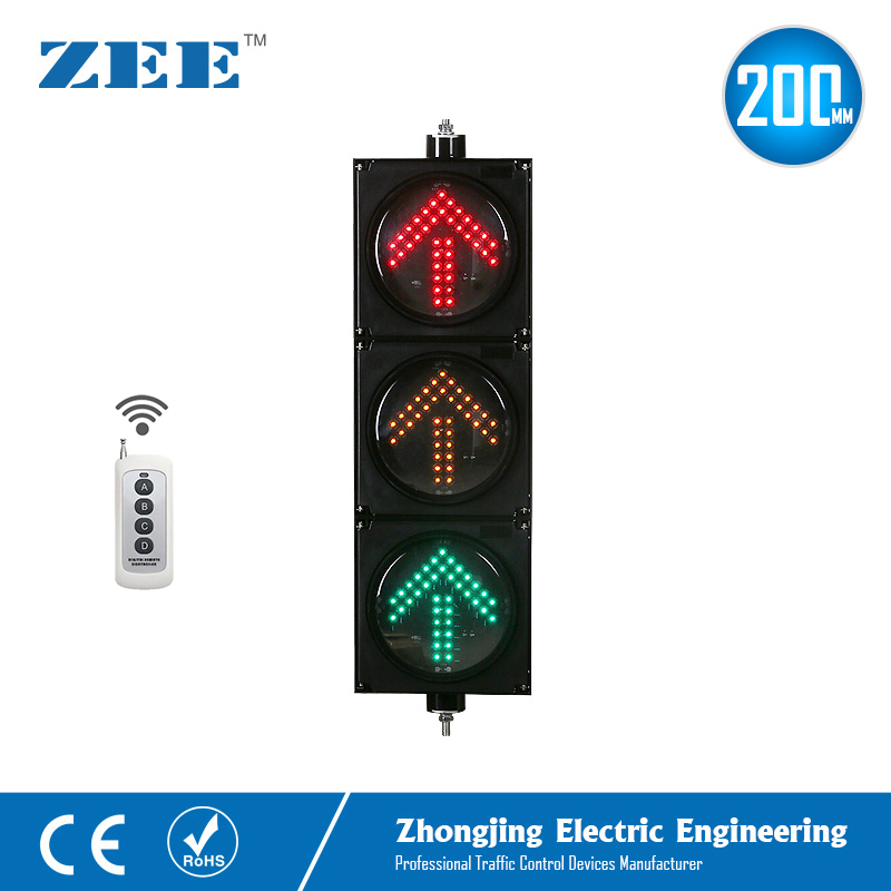 Wireless Remote Control 8inches 3x200mm LED Arrow Traffic Light Arrow Traffic Signals 220V 12/24V Traffic Signal Lights