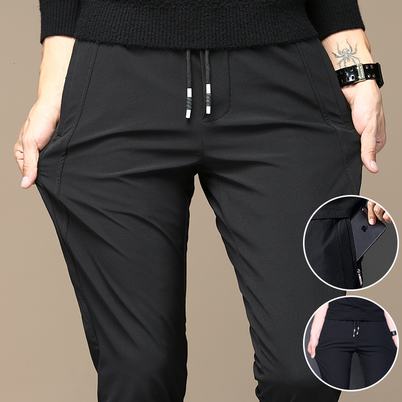 New Golf Trousers Quick Drying Ultra Thin Ice Silk Elastic Slim Pants Youth Men City Walking Soft Leisure Sports Wear Big Size