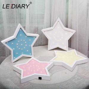 Image 3 - LEDIARY Wooden Night Light Bedside Lamp Moon Star Cloud LED Night Light Ramadan Room Decoration For Babys Childrens Bedroom