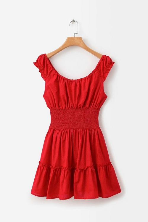 F9-c452 Europe And America-Slim Fit Lace-up Red Frilled Dress Women's