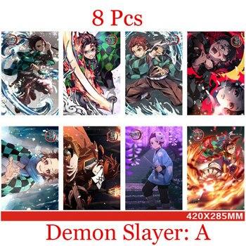 8 PCS Anime Demon Slayer Cosplay Wallpaper Kimetsu No Yaiba Kamado Tanjirou Kamado Nezuko Agatsuma Zenitsu Role Poster Ornament 1
