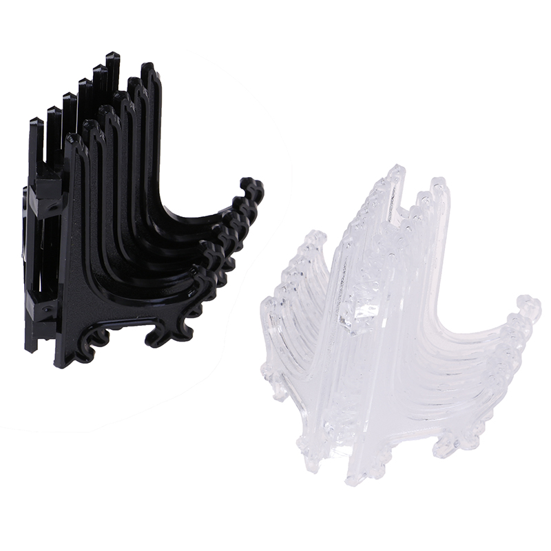 12 Pcs Black/Clear 3inch Plastic Easels Plate Holders Picture Frames Photo Book Pedestal Holder Portable Display Stand Stander
