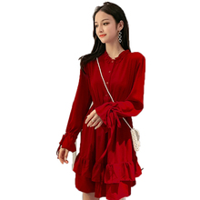 Woman Red Black Dress Ruffle Layered Hem Design Chic Classy One Piece Female Long Sleeve Elastic Waist Plus Size Dresses Girls