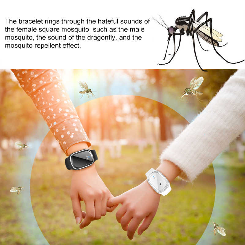 2 Color Ultrasonic Bracelet Anti Mosquito Insect Bug Repellent Repeller Wrist Bands Wristband Mosquitoes Pest Control for Family