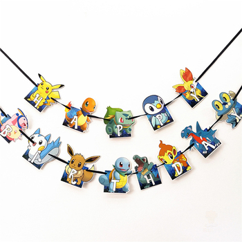 Pokemon Party Pull Flag Decorations Toys Games for Kids Birthday Parties Themed Events