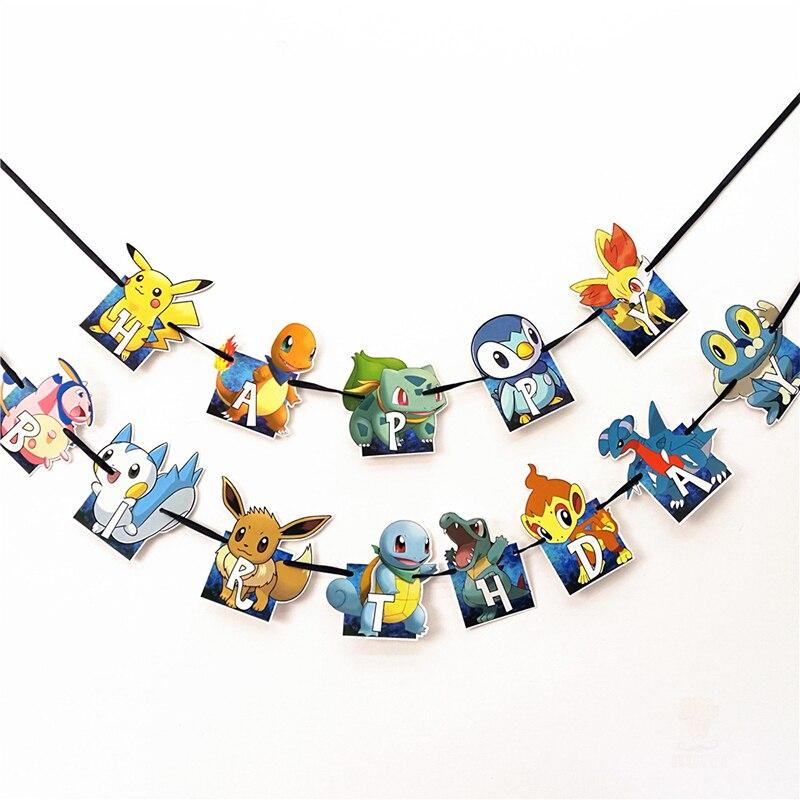 Pokemon party pull bandeira decorações de festa brinquedos de festa jogos de festa para crianças festas de aniversário eventos temáticos
