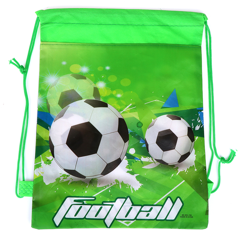 5PCS Fashion Green Football Drawstring Bags Non-Woven Fabric Backpack School Backpacks Random Kids Boy Favors