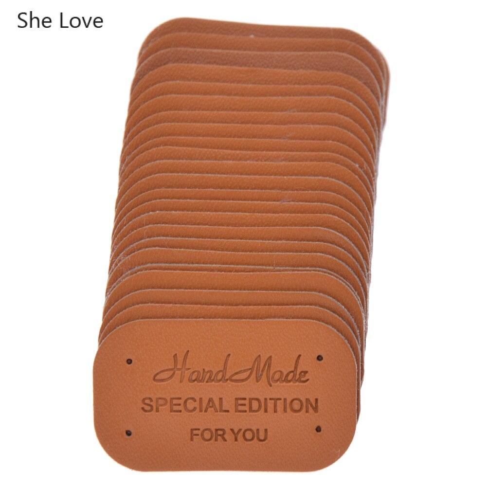 She Love 24 шт./лот одежда ручной работы метки одежды из искусственной кожи этикетки для джинсов сумки обувь Diy Швейные материалы - Цвет: Brown