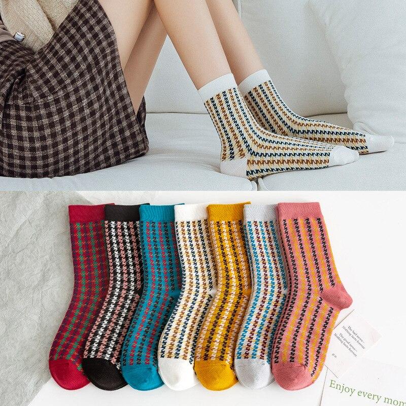10 peças = 5 pares mulheres meias de algodão 2020 novo estilo para o outono e inverno moda retro clássico houndstooth meias femininas