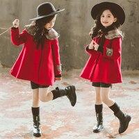 Baby Girl Peter Pan Collar Child Top Woolen Coats Winter Trench Coat Autumn Cape Cloak Coat Red Korean Fashion Children Princess