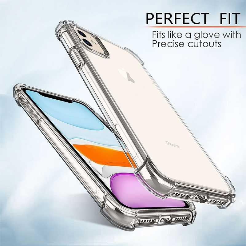 Antichoc de luxe Étui En Silicone Pour iPhone 11 Pro X XR XS MAX 6 6s 7 8 Plus SE 2020 Transparent Protection Couverture Arrière