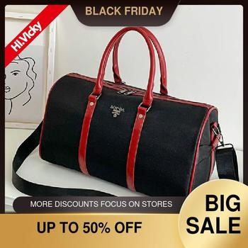 Large Capacity Regular Handbag Black High Quality Nylon Travel Bag Waterproof Men And Women Shoulder Portable Casual