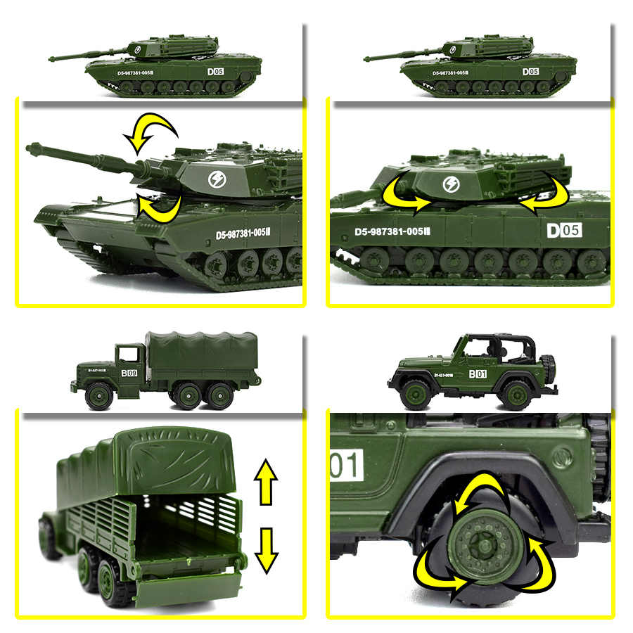 Diecast 6 סגנונות מיני צבאי כלי רכב סגסוגת צבא טנק דגם צעצועים לילדים פלסטיק גלישה רכב משאית ילדי צעצוע מתנות עבור ילד