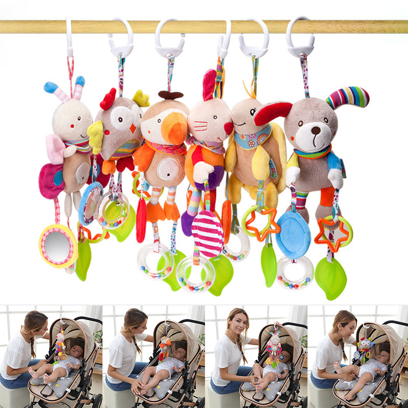 Baby Plush Toy Cartoon Animal Teether Hanging Ornament For Bed Stroller 2020 New Design Kids Toys Gift Dropship