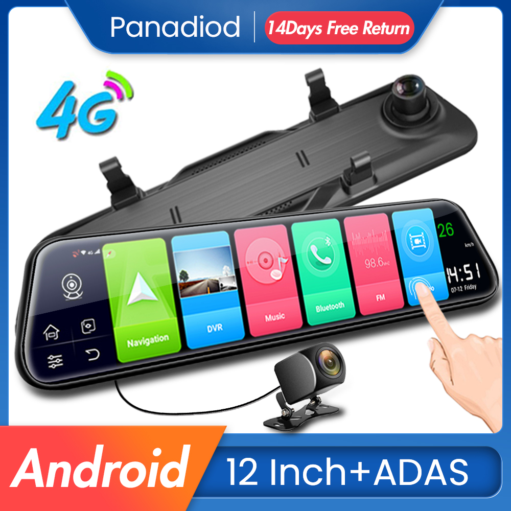 4G Android <font><b>Car</b></font> <font><b>DVR</b></font> 12 Inch ADAS <font><b>GPS</b></font> Navigation WiFi <font><b>Car</b></font> Dash Cam FHD Video Auto <font><b>Recorder</b></font> Rear View Camera <font><b>Mirror</b></font> Night Vision image