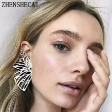 Gold Color Hollow Butterfly Earrings Elegant Large Metal Shaped Fan Women drop Earrings Fashion Jewelry Accessories 2019 New(China)