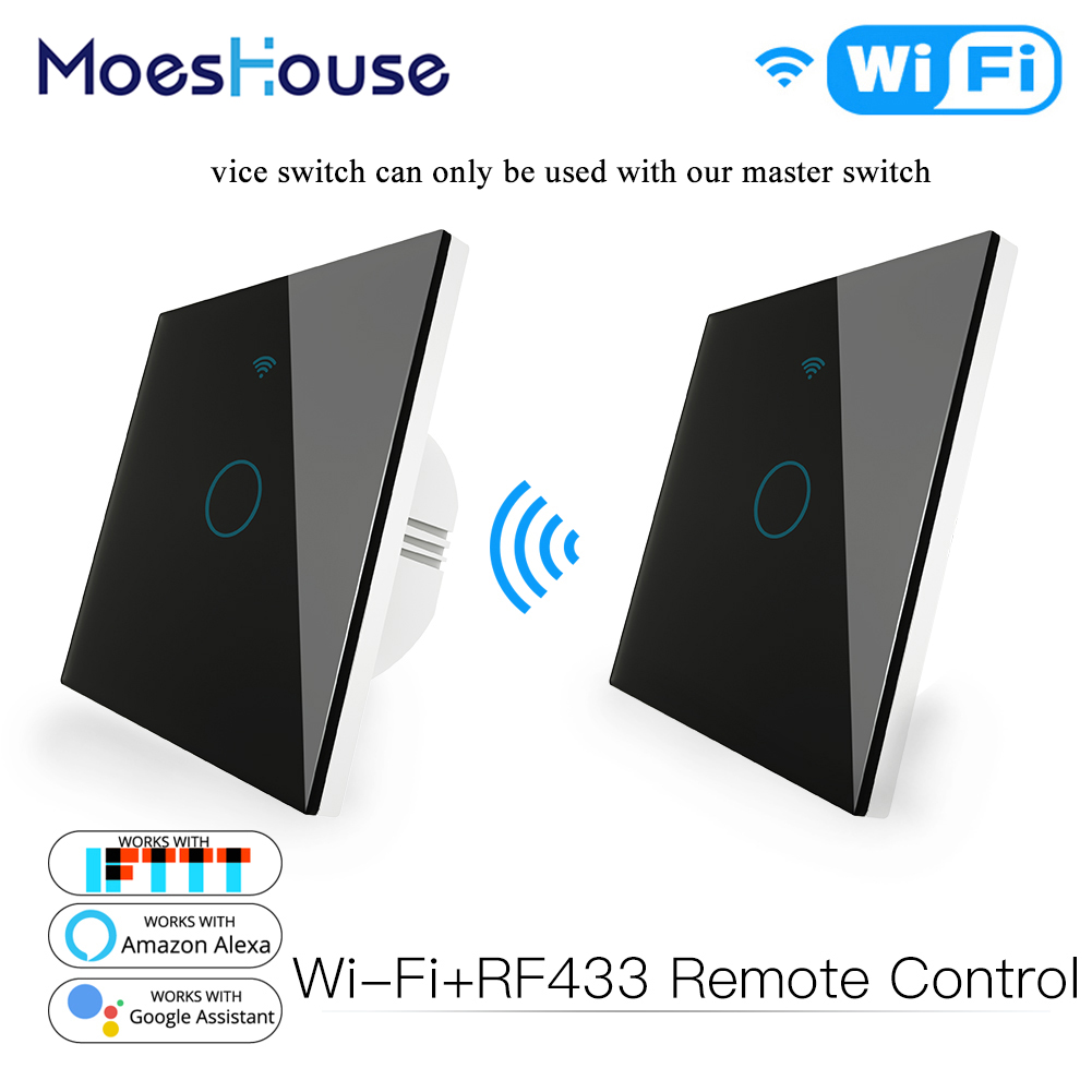 WiFi 2 Way Wall Touch Sensor Smart Switch RF433 Transmitter Wall Panel Wireless Remote Control Work with Alexa,Google Home 1