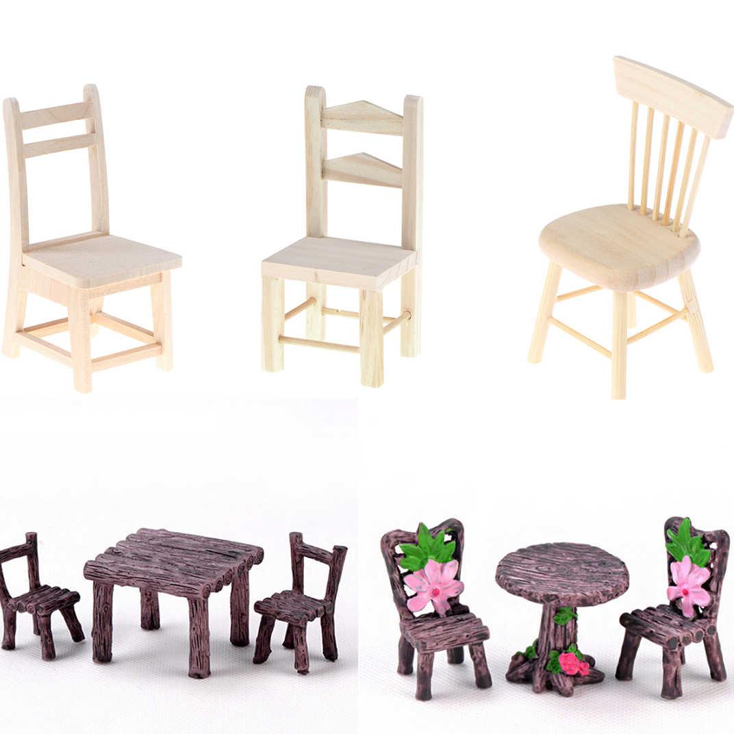 Mini Braun Harz Holz Stuhl Tisch Fee Terrarium Moos Decor Figuren Garten Miniatur Micro Landschaft Dekoration Aliexpress