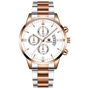 Image 5 - Модные Бизнес часы Роскошные мужские из нержавеющей стали пластиковые кварцевые часы мужские наручные часы Военные Спортивные часы Relogio Masculino