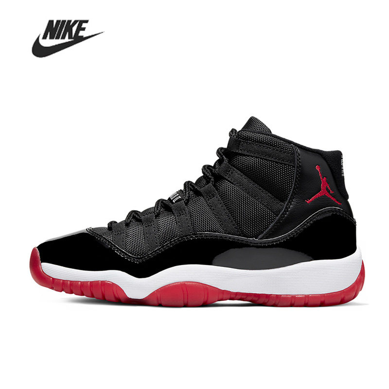 Hot Sale Nike Air Jordan 11 Bred Basketball Shoes Comfortable Gym Training Boots Ankle Boots Outdoor Men Sneakers 378037-061