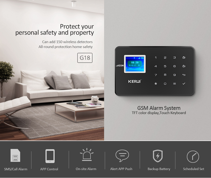 H27e4249aea274ec0b8af0282b5d98da10 - Home Security Protection Alarm KERUI W20 And W18  2.4G WIFI Wireless Network APP Control Tamper Alarm System