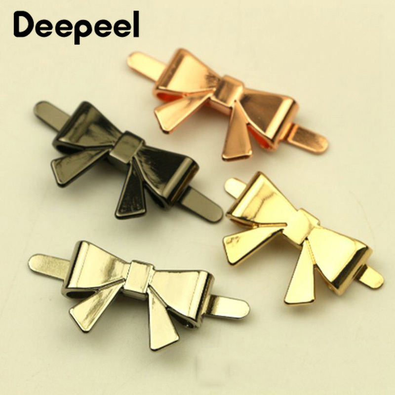 Deepeel 5/10pcs 25*16mm Metal Bag Decorative Buckle Bow Shoes Buckle DIY Jewelry Clothing Hardware Slider Accessories F1-15