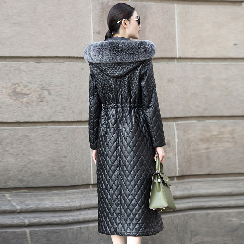Long Genuine Leather Jacket Women Autumn Winter Sheepskin Coat Female Fox Fur Collar Quilted Warm Parka Macaw KJ742