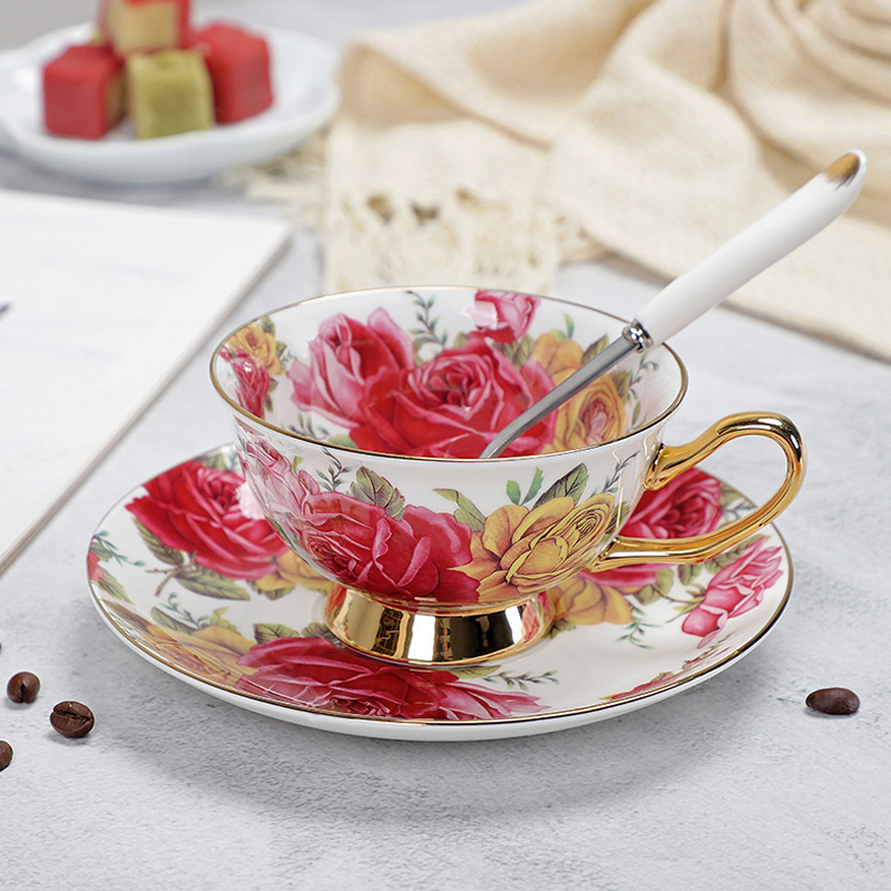 YeFine Porcelain Tea <font><b>Cups</b></font> And Saucers High-Grade Bone China <font><b>Coffee</b></font> <font><b>Cup</b></font> Turkish Drinkware <font><b>Set</b></font> image