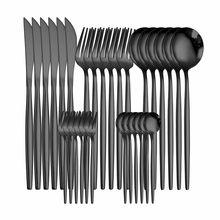 Conjunto de talheres ocidentais 30 peças talheres conjunto louça aço inoxidável preto colher garfo faca jantar conjunto completo casa talheres